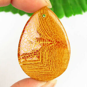 Yellow Fire Agate Teardrop Pendant Bead 43x30x5mm F38000