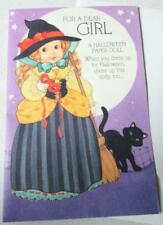 Vintage Paper Doll Halloween Greeting Card  w/envelope new Vintage Girl New
