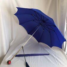 Vintage Blue Umbrella Ornate Silver Handle