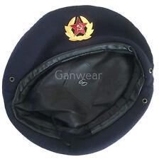 USSR Soviet Style Russian Army Uniform Dark Blue Military Beret Cap Hat Badge