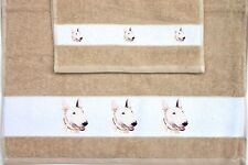 BULL ENGLISH TERRIER DOG SET OF HAND AND GUEST TOWELS SANDRA COEN ARTIST PRINT