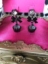 Betsey Johnson Vintage Film Noir Pink Crystal AB Pewter Cupcake Sweet Earrings