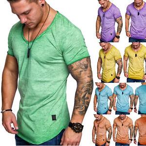 Herren Oversize Vintage T-Shirt V-Neck Basic V-Ausschnitt Shirt 6008