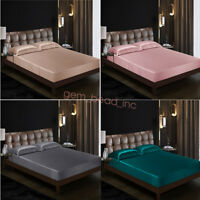 Soft 100% Mulberry Silk Fitted Sheet Comfort Bedding Bedspread Bedclothes 1PCS
