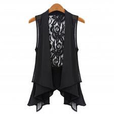 Women Chiffon Lace Floral Vest Sleeveless Loose Waistcoat Cardigan Plus Size New