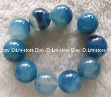 """20mm Blue Agate Round Beads 8"""""""