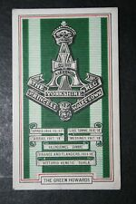 The Green Howards  1914/18 World War 1 Battle Honours Card   VGC