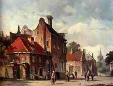 Eversen Adrianus View Of Town With Figures In A Sunlit Street A4 Print