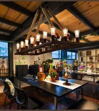 16-Light Retro Industrial Hemp Rope Chandelier Wrought Iron Pendant Ceiling Lamp