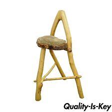 Handmade Robert Powchik Rustic Log Tree Branch Primitive Wishbone Stool Chair