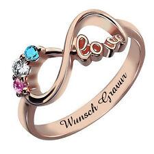 Ring Gravur PARTNER Monatsstein UNENDLICH  INFINITY Rosegold vergoldet Verlobung