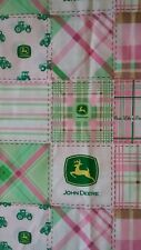 JOHN DEERE pink plaid Cotton Fabric( BY THE YARD)
