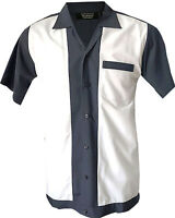 Rockabilly Fashions Retro Vintage Bowling Men's Shirt 1950 1960 Grey White S-3XL