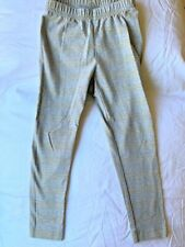 Hanna Andersson 100 4T New NWT Classic Leggings Light Gray Metallic Gold Stripe