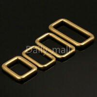 Rectangle Ring Buckle Loops Adjuster Solid Brass Leather Craft Bag Strap Webbing