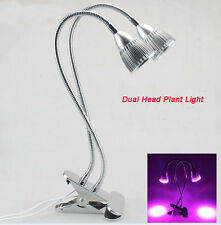 US 10LED 10W Dual Head Led Grow Light Hydroponic Plant Light Desk Clip on Lamp