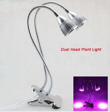 US 10LED 10W Dual Head Led Grow Light Hydroponic Plant Light Desk Clip on Lamp