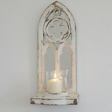 Small Gothic Arch Wall Mounted Mirror And Candle Holder Indoor Outdoor Rustic