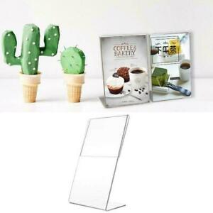 Acrylic Vertical Clear Plastic L-Shaped Table Sign Display Price Label Rack T7K0