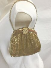 Whiting and Davis Evening Bag -Art Deco Gold Tone Mesh -1950's -Clutch Handbag