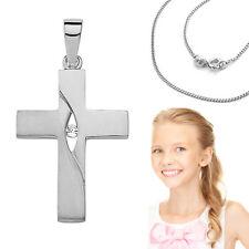 Kinder Taufkette Erst- Kommunion Kreuz Anhänger Echt Silber 925 mit Kette Wahl