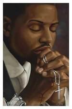 AFRICAN AMERICAN RELIGIOUS POSTER Black man praying - holding cross in prayer