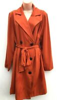 Ladies Ex PAPAYA CURVE Stunning Plus Size Belted Trench Coat Terracotta 18-28