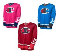 NWT Men's Champion Logo Print Hockey Jersey Long Sleeve Colors Red, Pink & Blue