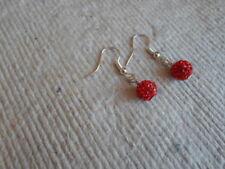 Handmade ~ Earrings ~ 8mm Red  ~ Disco ~ Shambala Beads