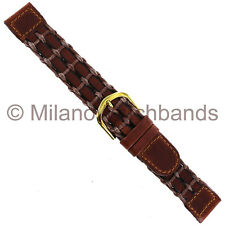 16mm Speidel Mens Brown Genuine Leather and Cord Woven Stitched Watch Band