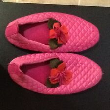 Ladies Bedroom Pink Quilted Flower Slippers Size Large 9-10