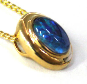 Australian Natural Black Triplet Opal Pendant With Solid Silver