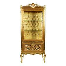 Vetrina In Stile Barocco In Legno Massello Intagliata Finitura In Foglia Oro