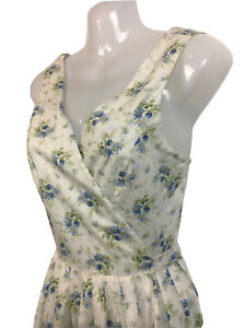 Laura Ashley 10 floral wrap dress full rockabilly skirt bow cotton wedding party