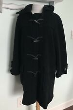 BURBERRY London Sz 10 Womens Black Wool Duffle Toggle Coat Hooded