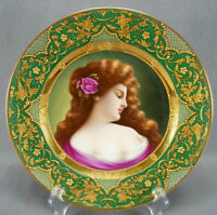 Dresden Royal Vienna Style Hand Painted La Rose Raised Gold Portrait Plate