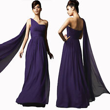 Long Flowing Formal One Shoulder Ball Gown Braidsmaid Evening Dress Grape