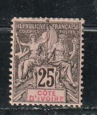 1892-1900 French colony stamps, Ivory Coast, 25c MH, SC 10
