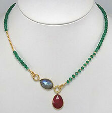 """Genuine Natural Ruby Green Onyx .50 micron 18k Gold Plated 20"""" Necklace STUNNING"""