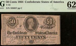 UNC 1864 CONFEDERATE CURRENCY 50 CENT FRACTIONAL CIVIL WAR NOTE T-72 PMG 62