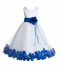 Wedding Pageant Floral Rose Petals White Flower Girl Dress Tulle Princess #007
