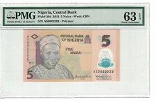 Nigeria Fancy Serial # 0022222  5 Naira 2013 Pick# 38d PMG 63 EPQ (#PL945)