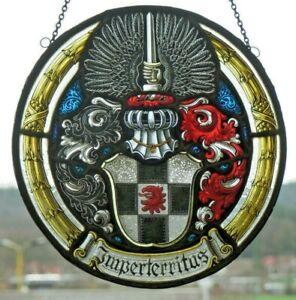 """Bleiverglasung Fensterbild alte meisterliche Glasmalerei / Ätzung """"Imperterritas"""