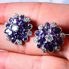 3Ct Marquise Cut Amethyst Push Back Cluster Stud Earrings 14K White Gold Finish
