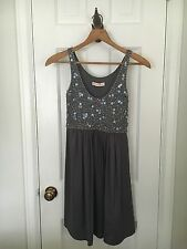 Rebecca Taylor Mini Dress Gray silk Floral beaded sleeveless size 4 or small