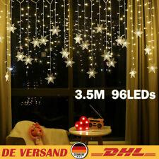 LED Lichterkette Schneeflocke Lichtervorhang Außen Vorhang Xmas Weihnachten DE
