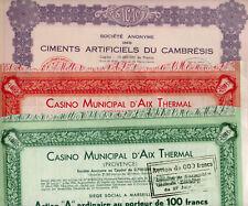 Actions Obligations Casino d'Aix et Ciment du Cambresis Lot 3 actions