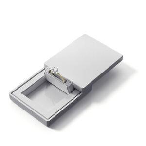 MONOLIX Slim Ring Box Flat in Pocket for Surprise Proposal Engagement Thin MINI