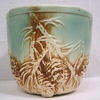 """Vtg McCoy Rustic Pine Cone Jardiniere 1945 Brown Blue Embossed Cones 6 1/2"""""""