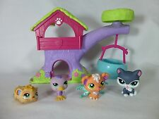 Lot of 4 Littlest Pet Shop Hamster Duck Cat Dog with Wings LPS Treehouse
